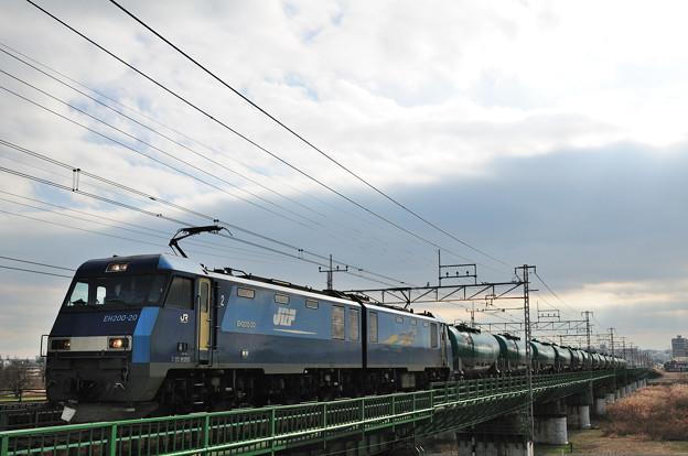 多摩川橋梁を渡る貨物列車