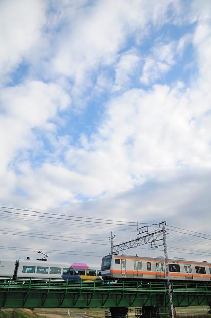 多摩川橋梁を渡る中央線のE233系快速電車とE257系の離合