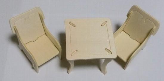 ウッドクラフト イス2脚とテーブル