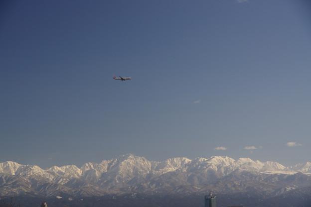 元旦 立山連峰と飛行機