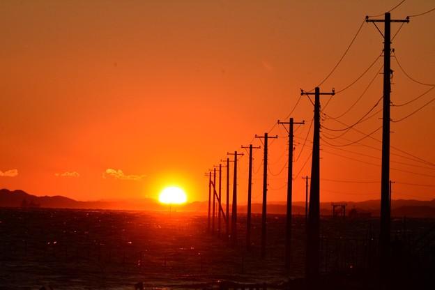 夕暮れの電信柱