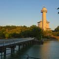 写真: 城山公園 No - 36:夕暮れ時の長池とスカイワードあさひ