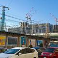写真: 名駅通から見た、様々な建物が建設途中の「ささしまライブ24」地区