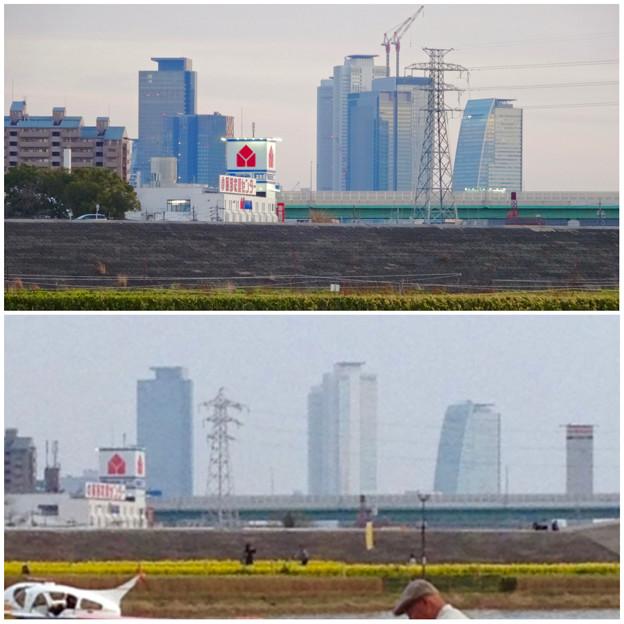 庄内緑地公園から見た名駅ビル群の比較(2016年2月と2013年3月)- 1