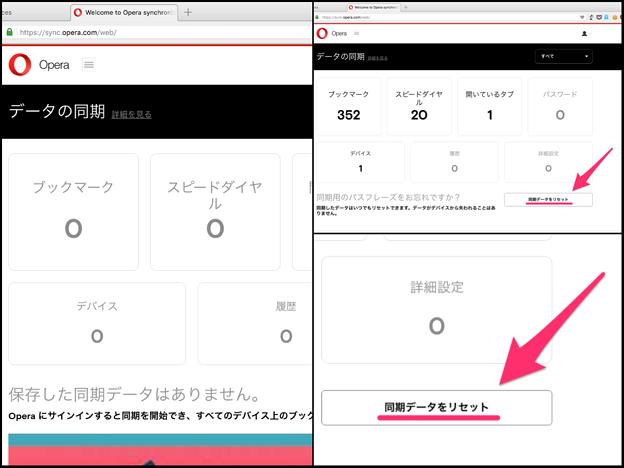 Operaの同期項目、WEBからアクセス・削除が可能 - 12:データの削除(リセット)