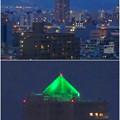 写真: 名古屋城天守閣 最上階から見た、「アンビックス志賀ストリートタワー」のピラミッド形のイルミネーション - 9