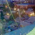 写真: 名古屋城天守閣 最上階から見下した、本丸御殿建設工事用のクレーン - 2