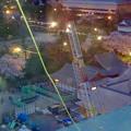 写真: 名古屋城天守閣 最上階から見下した、本丸御殿建設工事用のクレーン - 3