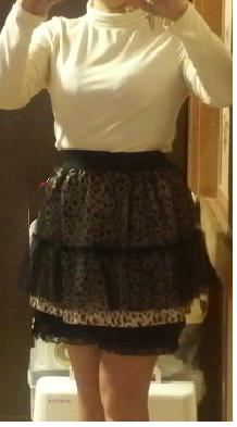Photos: 着画 『裾ティアードレース付ペチパンツとレオパード柄チュールスカート』