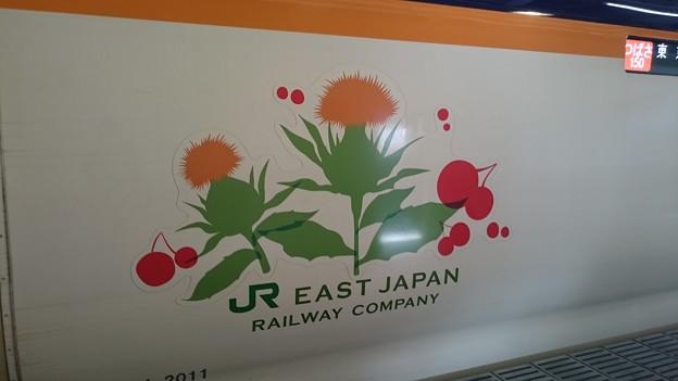 写真: シンボルマーク (E3系 仙カタL71編成) [JR 新庄駅]