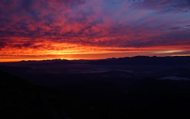 御嶽の朝焼け