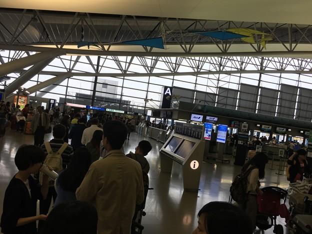関空 春秋航空カウンターの行列