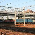 写真: JR稲沢駅より夕日の中の機関車