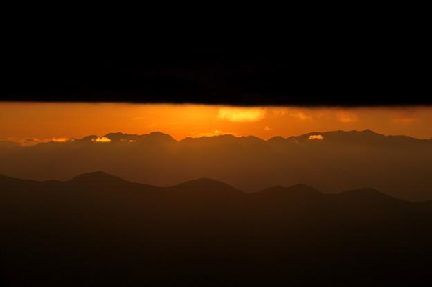 太陽が隠れた夕焼け