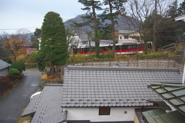 宿からケーブルカーが見えます。
