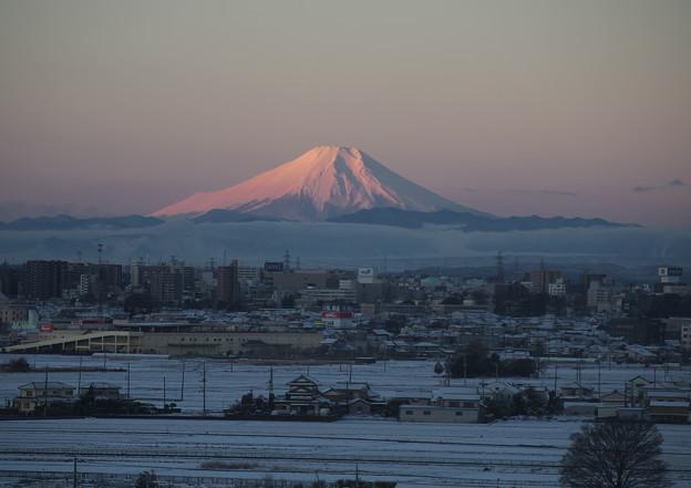 雪の日の富士山