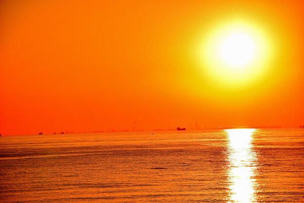 夕方の海砂漠の如し