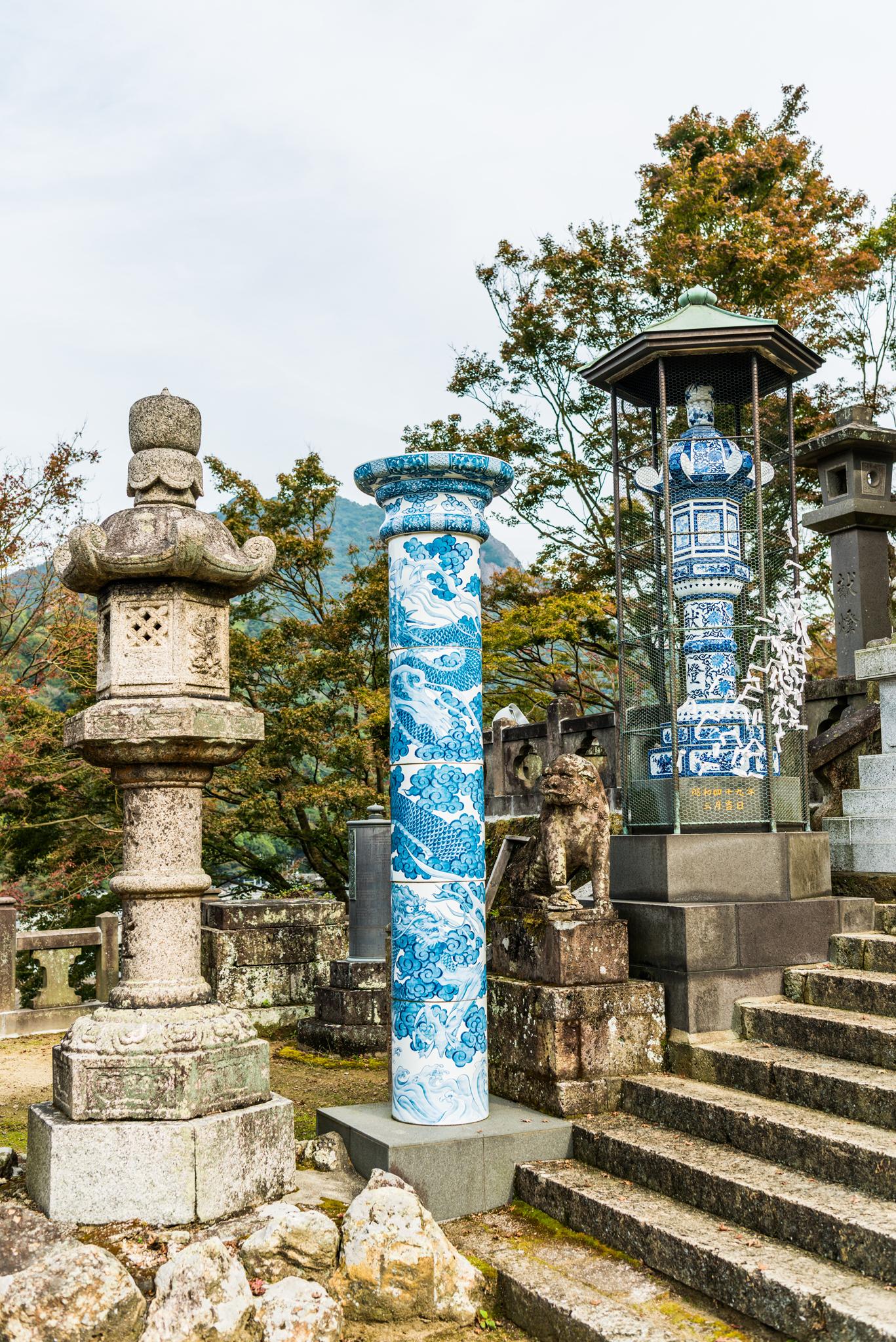 陶柱と灯篭@陶山神社