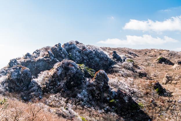 立岩の峰から霧氷沢