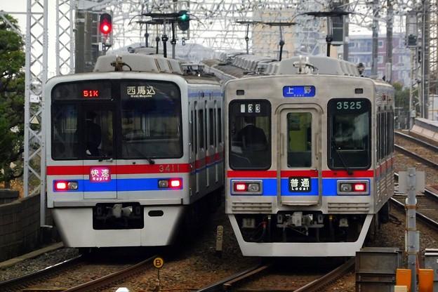 快速A01西馬込(750K)3400形3418F&普通KS01上野(832レ)3500形3508F-3528F