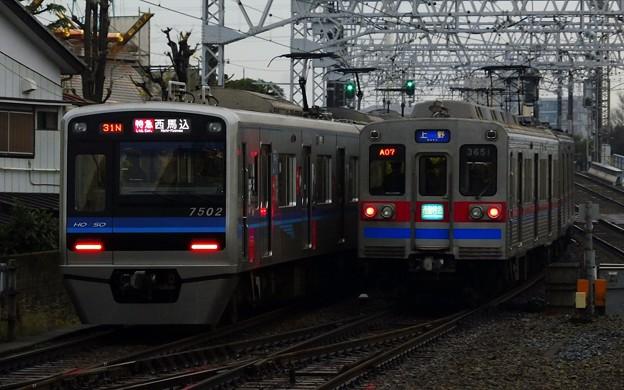 特急A01西馬込(730N)北総7500形7502F&通勤特急KS01上野(6A06レ)3600形3658F