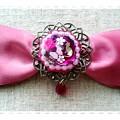 写真: 【ハンドメイド】猫とお花の宝石リボンヘアクリップ*ピンク(赤)