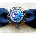 写真: 【ハンドメイド】猫とお花の宝石リボンヘアクリップ*ブルー(青)