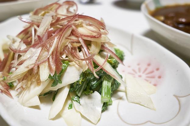 山ウドと菜の花と茗荷のサラダ