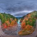 井川湖「夢のつり橋」 紅葉 360度パノラマ写真(1) HDR