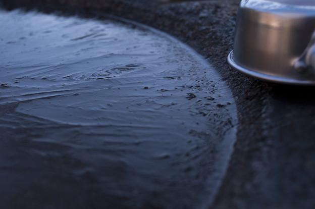 海住山寺、手水に氷