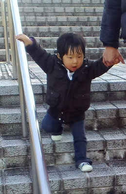 Photos: 階段の好きな倖君