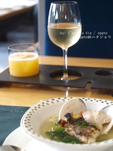 地魚とハマグリのスープ。(いすみ鉄道 イタリアンランチクルーズ2014)