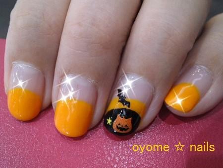 ハロウィンネイル にゃんこかぼちゃ