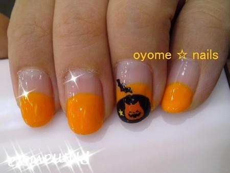 ハロウィンネイル にゃんこかぼちゃニヤリ