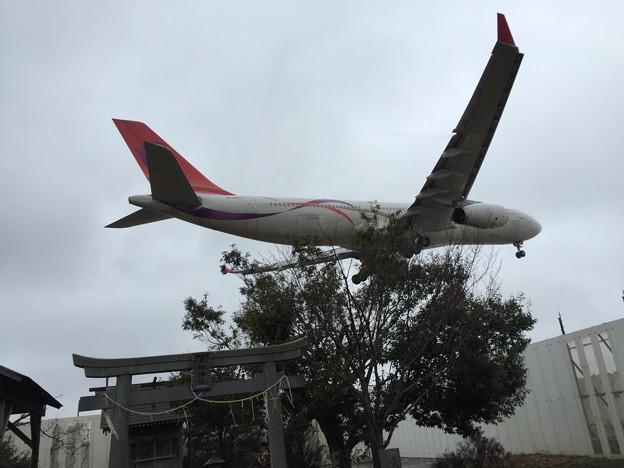 写真: 東峰神社での着陸機撮影
