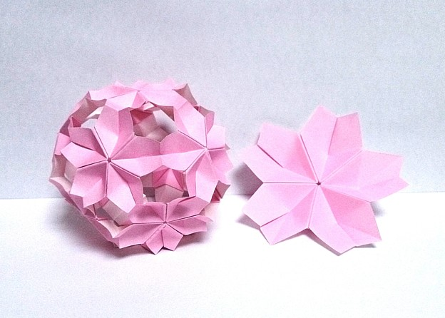 ハート 折り紙:折り紙桜玉折り方-photozou.jp