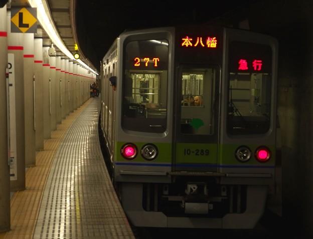 京王新線幡ヶ谷駅2番線 都営10-280F急行本八幡行き前方確認