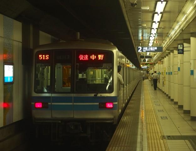 東京メトロ東西線落合駅2番線 メトロ05-117F快速中野行き前方確認