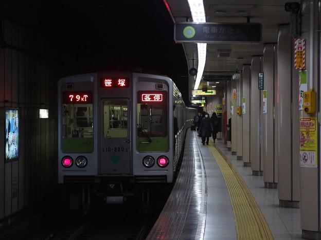 都営新宿線小川町駅3番線 都営10-220F各停笹塚行き前方確認