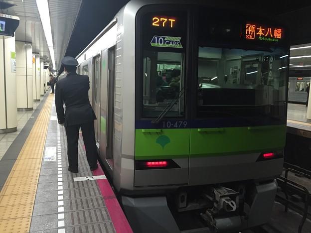 都営新宿線九段下駅6番線 都営10-470F各停本八幡行き側面よし