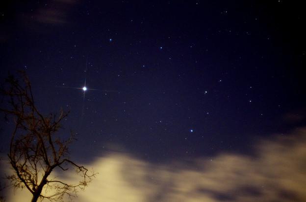 夜明け前の木星と獅子座