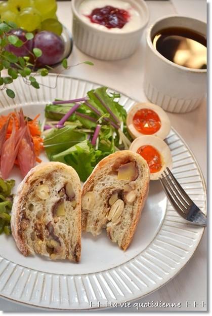 珈琲マーブルと渋皮栗のカンパーニュで朝ごパン