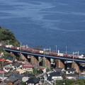 快晴の石橋山・大俯瞰撮影・・・EF64-1044号機・貨物列車を撮影