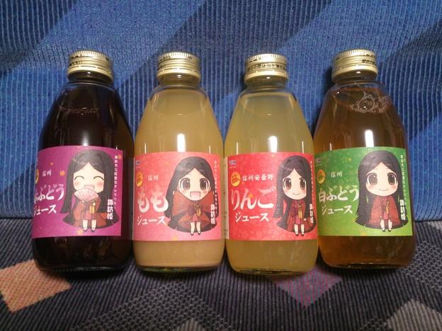 諏訪姫ジュース 赤ぶどう、白ぶどう、りんご、もも