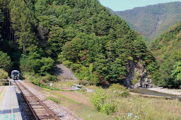 秋の渓谷をゆく小海線