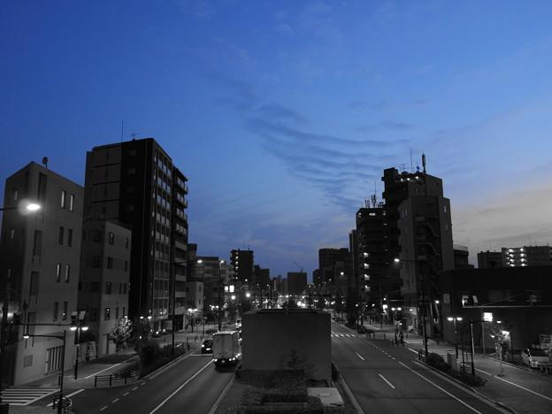 早朝の歩道橋から