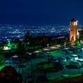 写真: 甲府盆地 夜景