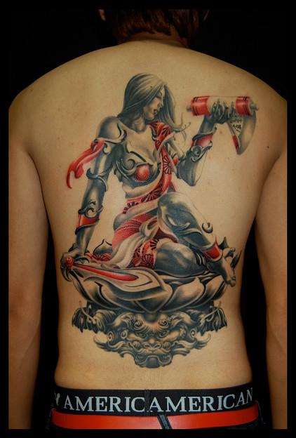 大阪_タトゥー_刺青/文殊菩薩 唐獅子 背中一面 刺青画像