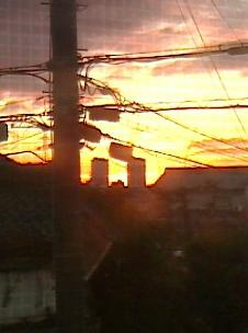 家から見た朝焼け
