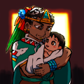 写真: モキウィシュ王と娘
